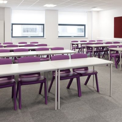 classroom, purple, chairs